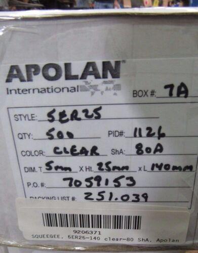 APOLAN 5ER25 CLEAR POLYURETHANE SCREEN PRINTING SQUEEGE 5MMX25MMX140MM QTY 500