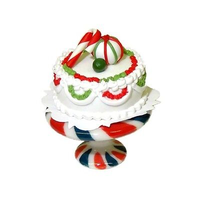 Dollhouse Miniature Peppermint Christmas Cake on Stand 1:12 Scale