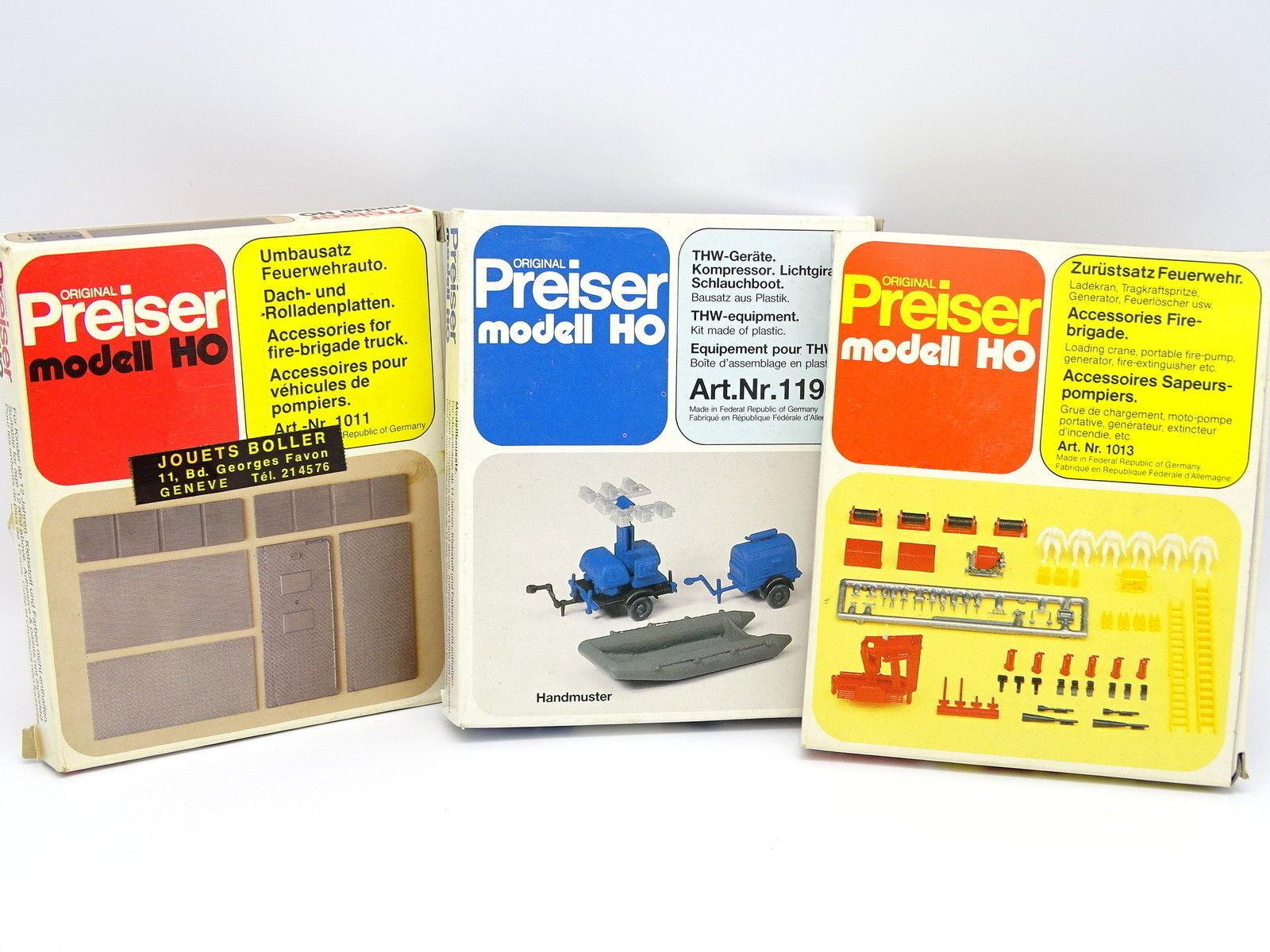 Preiser Kit à monter 1 87 HO HO HO  Lot de 3 Boîtes Accessoires Pompiers Feuerwehr THW cbfbe3