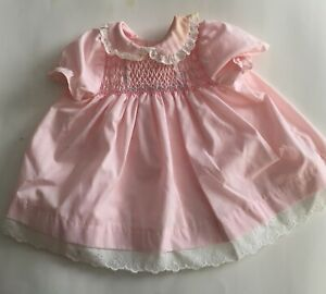 POLLY-FLINDERS-Pink-SMOCKED-BABY-Dress-Size-0-3-MOS-Made-in-USA
