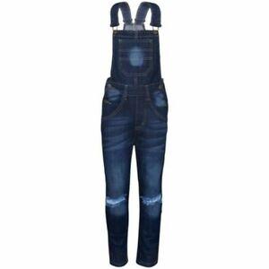 Kinder Mädchen Denim Latzhose Knie Zerrissen Dunkelblau Jeans Overall Mode
