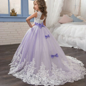 Kids-Girls-Princess-Bridesmaid-Pageant-Tutu-Tulle-Gown-Swing-Party-Wedding-Dress