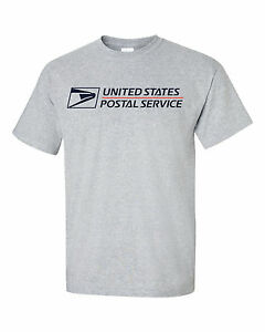 Usps postal grey t shirt full two color postal logo on for T shirt left chest logo size