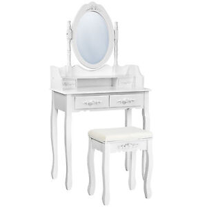 Coiffeuse-meuble-table-de-maquillage-tabouret-commode-avec-miroir-4-tiroir-blanc