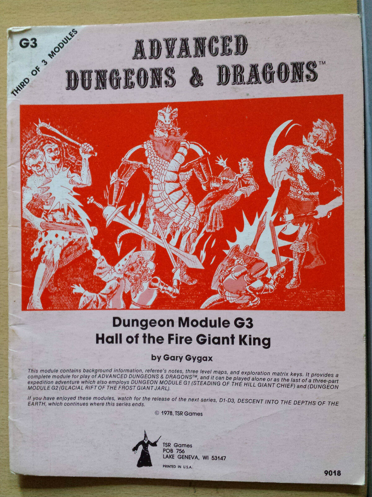 G3 Hall of the fire giant king mono 1E AD&D RPG roleplaying adventure module