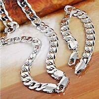 18ct White Gold Filled Silver Men's Bracelet+necklace 23.6 Chain Set Xmas Gift