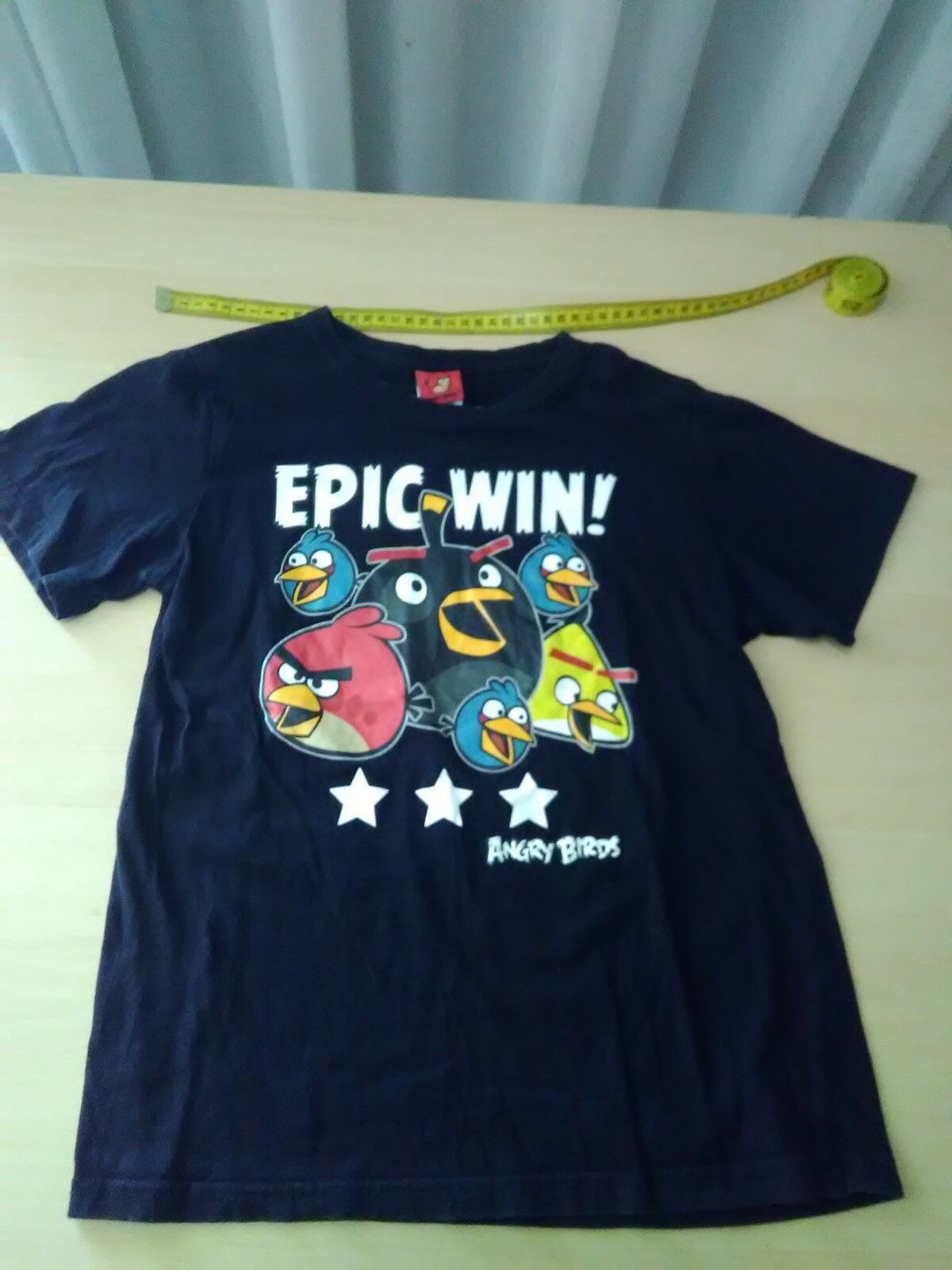 Boys Epic Win Angry Birds T-Shirt, Black Size 12 to fit height 150CMs ,  Cotton