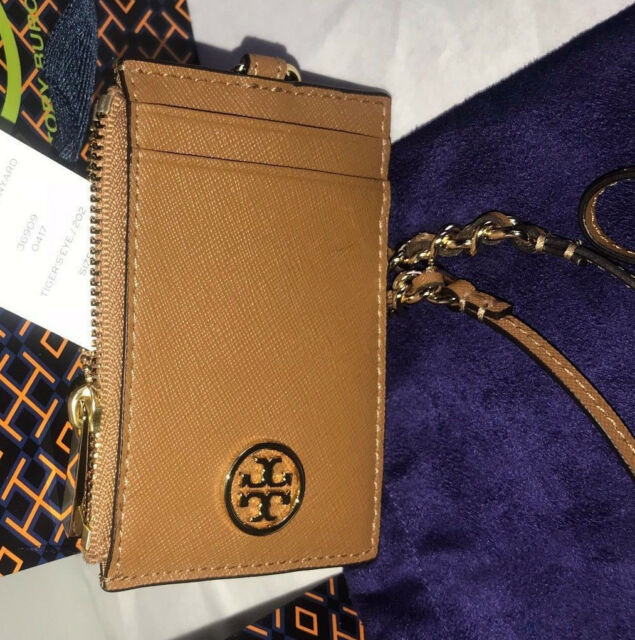 new product 25353 1f694 Tory Burch Robinson Lanyard Id/credit Card Holder Tiger Eye Tan 25 off