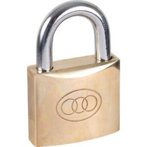 Padlock Tri-Circle Padlock 38mm Brass With 3 Keys