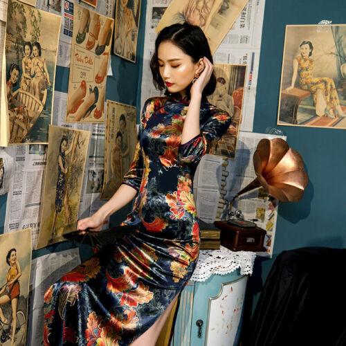 Velvet Women Long Cheongsam Chinese Traditional Qipao Evening Dress Prom dress