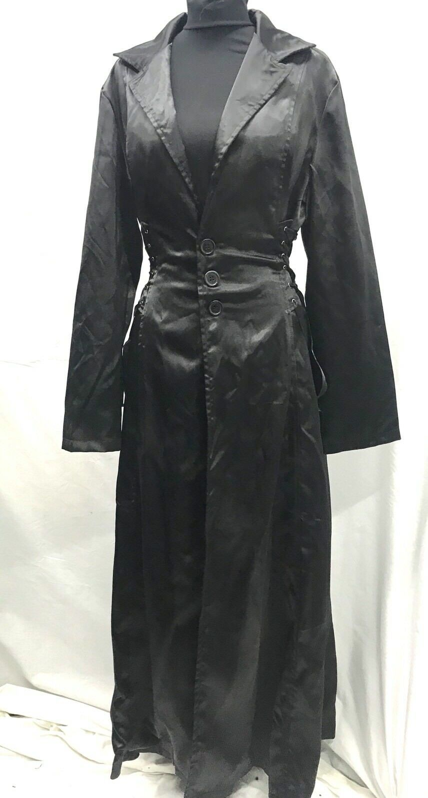 Raven Gothic Black Long Satin Dress Coat With Waist Sides Corseted Size L