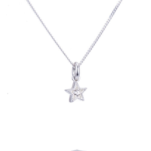 Plata esterlina pequeña /& Collar de estrella de cristal de la CZ 14-32 pulgadas