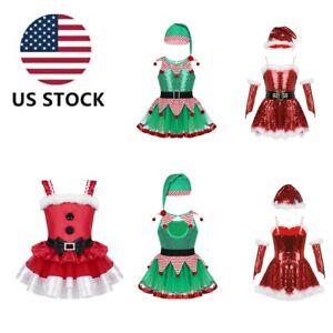 US-Xmas-Santa-Cosplay-Costume-Kids-Elf-Ballet-Dress-Dancing-Skating-Leotard-Set
