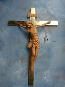lace up in presenting hot product Details about Hand Carved Wood Crucifix jesus corpus religious 42''cross  28'' body of jesus