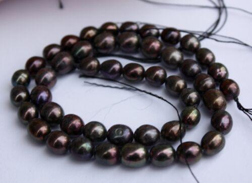 OV17Braun Zuchtperlen Strang Süßwasser Perlen Schmuck Halskette 7-8 mm Oval