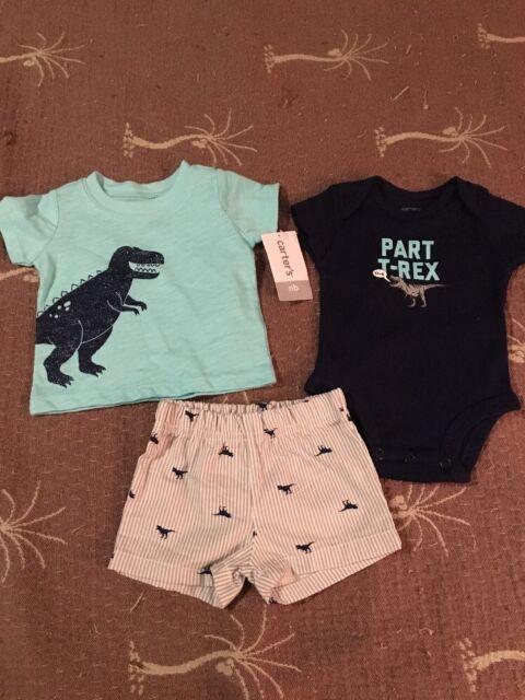 5c3b6d0fa Boys Newborn CARTER'S Dinosaur 3 Piece Set New $26 Retail | eBay