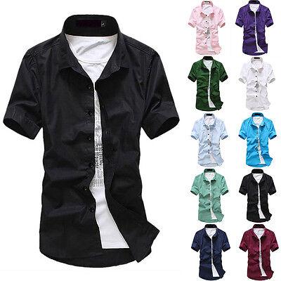 Mens Button Down Collar Short Sleeve Shirts Slim Fit Business Dress Shirts