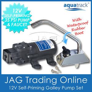 AQUATRACK 12V SELF-PRIMING GALLEY ELECTRIC WATER PUMP & FAUCET/TAP- Boat/Caravan