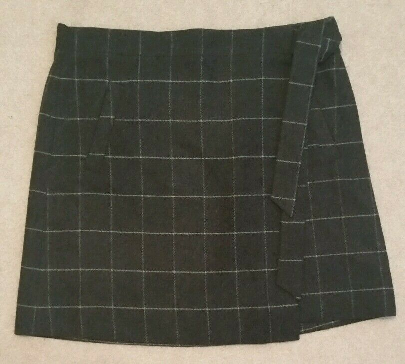 J Crew Factory Wool wrap skirt F7873 charcoal  90 Größe 12
