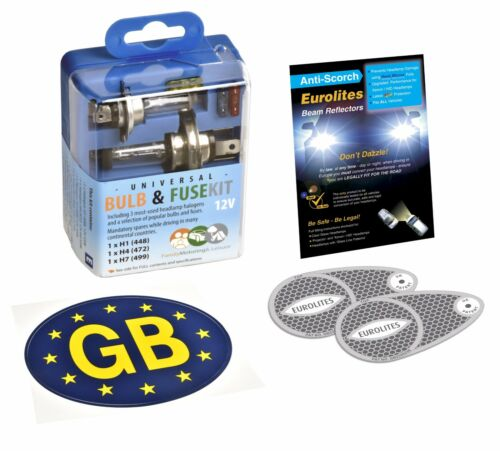 Travel Car Spare Bulb /& Fuse Kit /& Blue GB Sticker /& Pair Eurolites Beam Benders