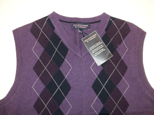 Roundtree /& Yorke V-Neck Argyle Sweater Vest $59 Purple Black Gray Red Aqua NWT