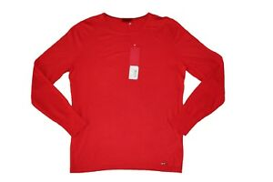 0152f71f2 NEW HUGO BOSS MENS RED COTTON SILK CASHMERE BLEND CREW NECK JUMPER ...