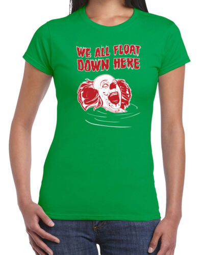 244 We All Float womens T-shirt horror movie clown scary it new pennywise retro