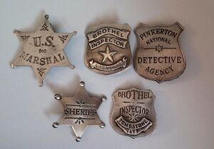 THE COLLECTION 5 DIFFERENT BADGES (BADGES THE OLD WEST) FREE SHIPPING