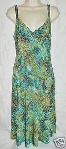 Jones-Wear-Dress-Sleeveless-Stretch-Faux-Wrap-Multi-Color-Splatter-Print-size-8