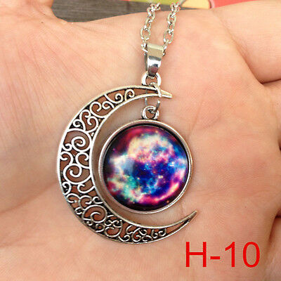 """New arrival Colorful Galaxy Glass Hollow Moon Shape Pendant Tone Necklace H-10"""""""