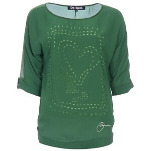 2bd308f05 Details about Lovely Desigual Multi Layered Pattern Punched Emerald T Shirt  Top, 10/12, NWT