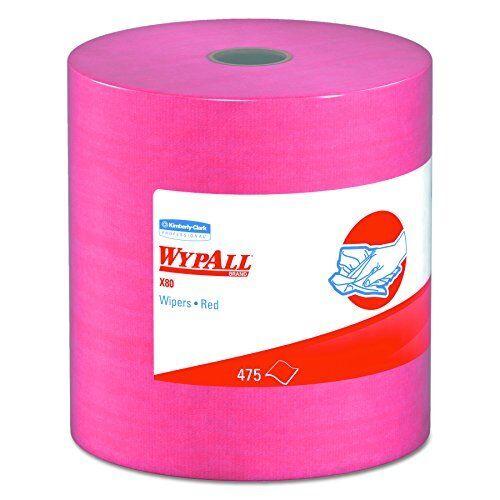 NEW WypAll 41055 X80 Wipers HYDROKNIT Jumbo Roll 12 1 2 x 13 2 5 Red 475 Per