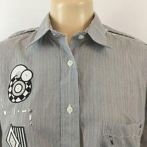 Las-Olas-Womens-Tops-Long-Sleeve-Button-Up-Shirt-Striped-White-Black-Size-L