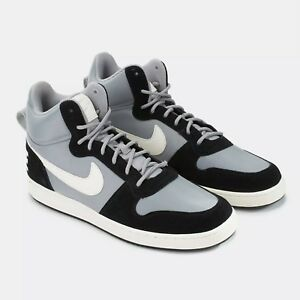 Nike Court Borough Mid Premium 844884-005 Mens Shoes Black & Silver Sz 8