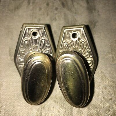 Antique Pair Of Solid BRASS Mortise Lock THUMB  Safety Knob Twist Latch