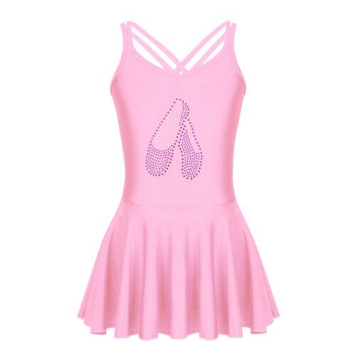 Toddler Girls Shiny Gym Leotard Dress Ballet Dance Tutu Skirt Dancewear Costume