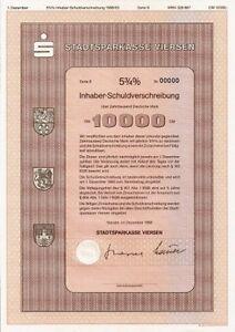 Stadtsparkasse-Viersen-1989-Bank-DM-Anleihe-Moenchengladbach-hist-Wertpapier-NRW