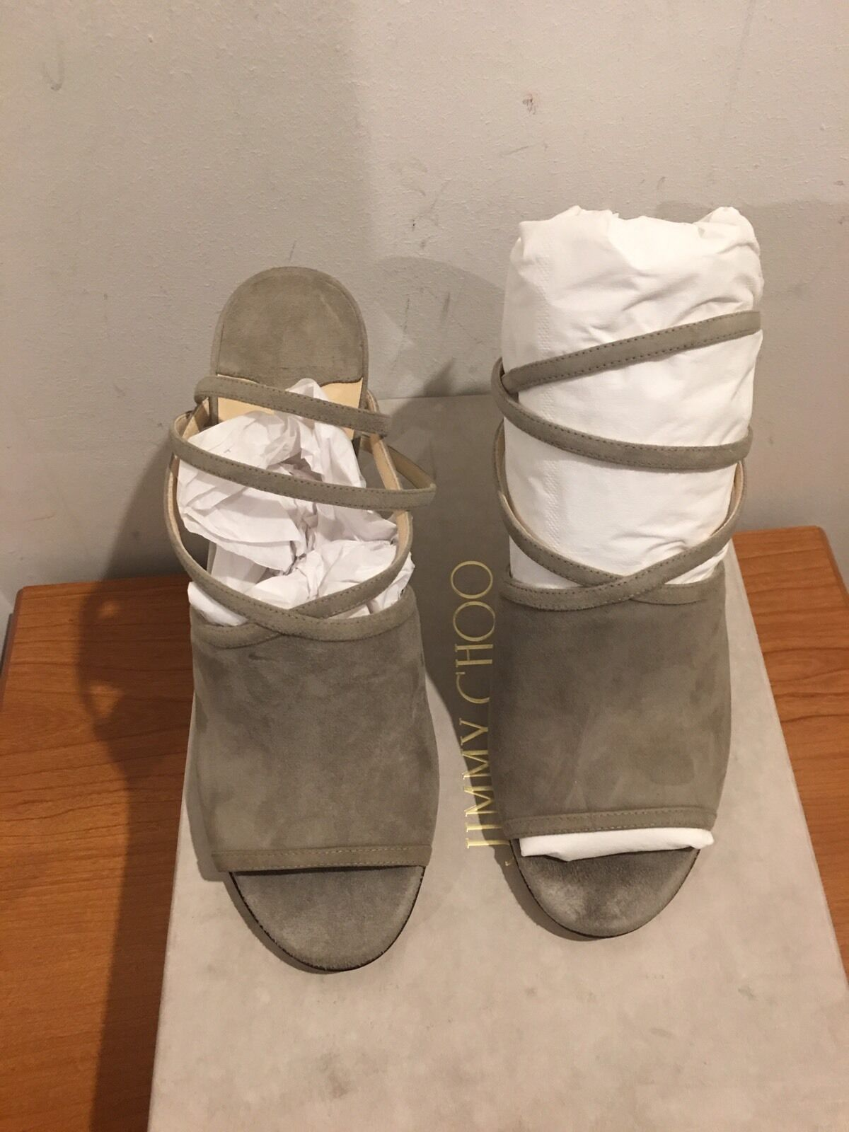 JIMMY CHOO CHOO CHOO Suede Flora Heels Sandals schuhe UK 4 EU 37 3f612b