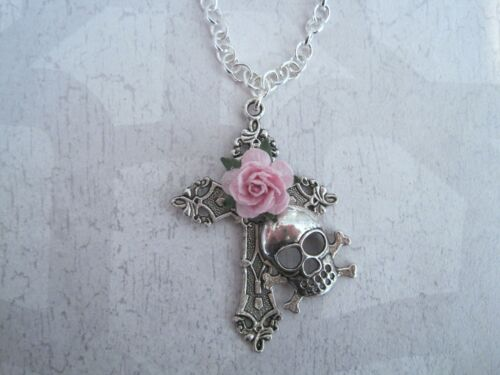 *SKULL SILVER CROSS CANDY PINK ROSE* Chain Necklace Gothic Day of the Dead
