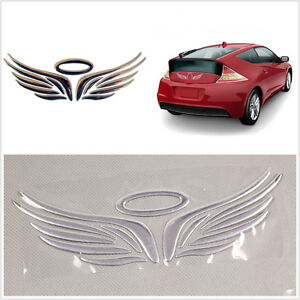 Silver 3d Car Logos Tail Sticker Guardian Angel Wings Reflective