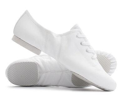 weißer PU Schnürer Gummi geteilte Sohle Jazz Tanz Übung Schuhe Katz alle Größen