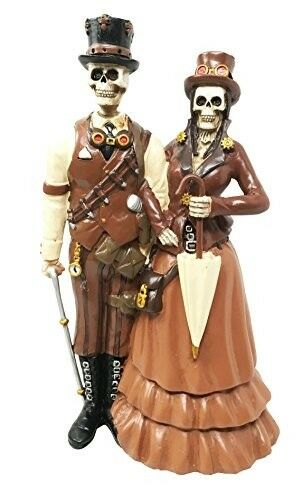 """Day Of The Dead Steampunk Ballroom Wedding Function Skeleton Couple Figurine 8/""""H"""