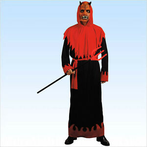 Horromaske Flammen Dämon Maske mit Umhang Feuer Teufel Halloween