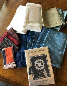 "Backyard Quilts, Winter Garden, New 70""x85"", cotton quilting fabric kit"