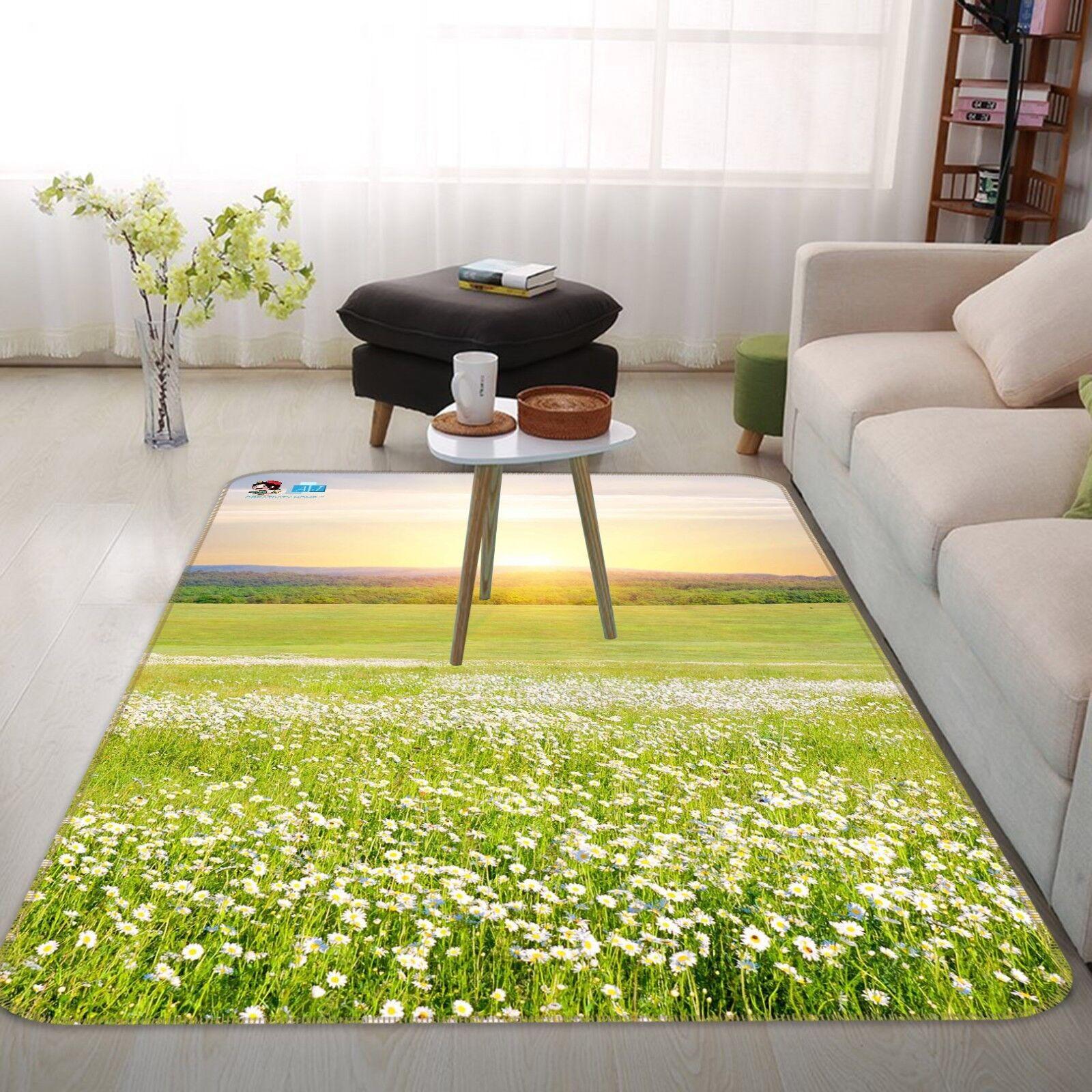 3D bianca Flower Field 2 Non Slip Rug Mat Room Mat Quality Elegant Carpet US Cobb