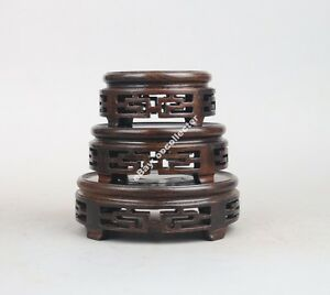 wooden-display-stand-China-1-set-3-PC-black-wood-round-ebony-wooden-carved-base