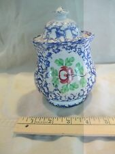 c1850 Spatterware Staffordshire Sugar Bowl Blue Rose spatter ware
