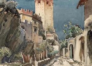 MALCESINE-CASTLE-LAKE-GARDA-ITALY-Watercolour-Painting-PHILIP-WILLIAM-COLE-1930
