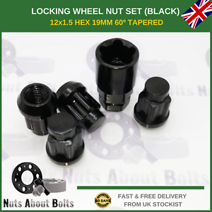 Black-Locking-Wheel-Nuts-M12X1-5-Bolts-For-Land-Rover-Freelander-1998-06