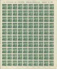 """1944 RSI REPUBBLICA SOCIALE MONUM. DISTR. """"S. Lorenzo"""" 25c FOGLIO INTERO"""
